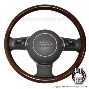 04-08 Audi A8 S8 D3 Wood Steering Wheel OEM w/Airbag Gray