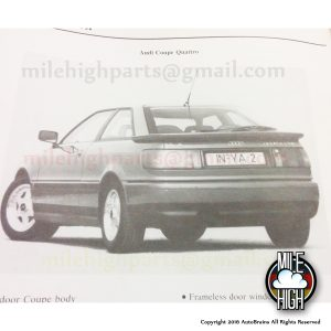 Audi Coupe Quattro 20v Engine Factory Service Training Manual ASE Rare Original